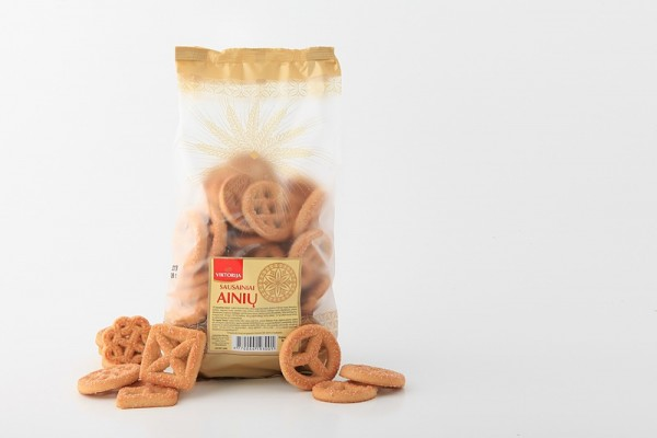 """Ainių"" various shapes of vanilla flavoured and sugar coated cookies"