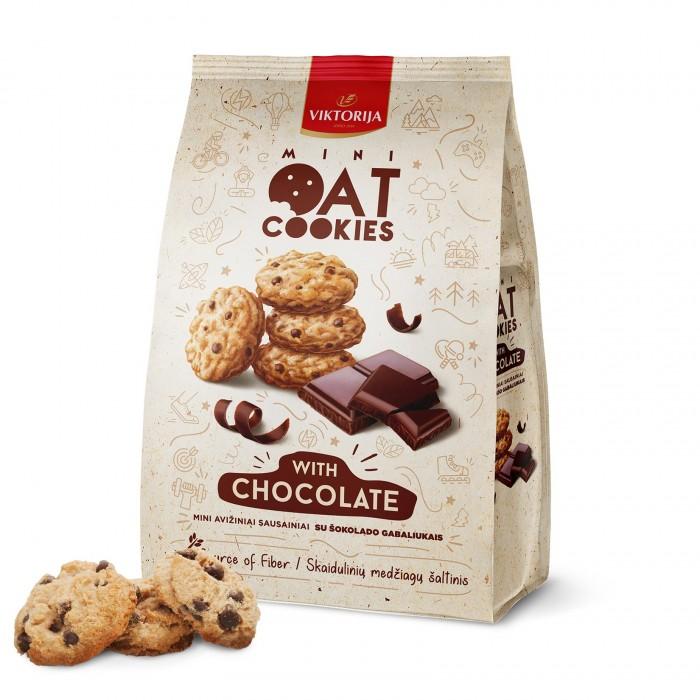 Mini avižiniai sausainiai su šokolado gabaliukais