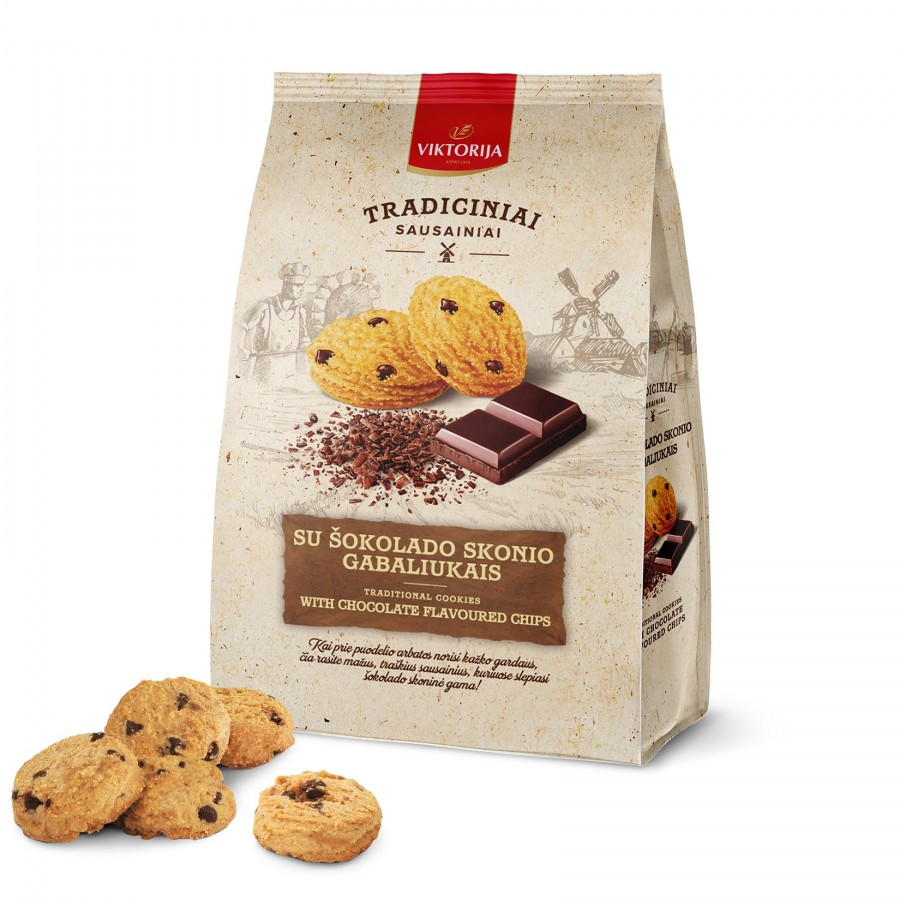 Cookies with chocolate flavoured chips