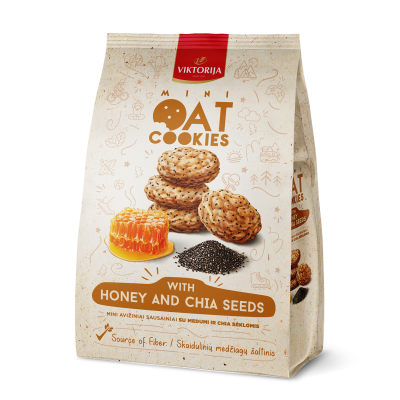 Mini oat cookies with honey and chia seeds