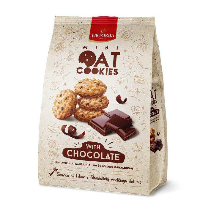 Mini oat cookies with chocolate